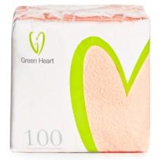 Салфетки бумажные Green Heart, 1-слойные, тиснение сплошное, 100 листов (персик), 24 см
