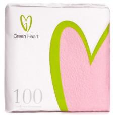 Салфетки бумажные Green Heart, 1-слойные, тиснение сплошное, 100 листов (розовые), 24 см