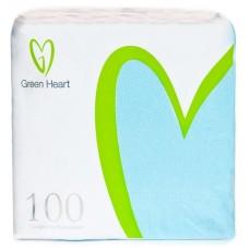 Салфетки бумажные Green Heart, 1-слойные, тиснение сплошное, 100 листов (голубые), 24 см