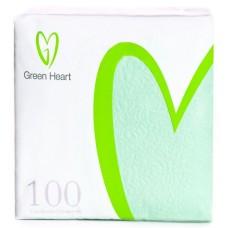 Салфетки бумажные Green Heart, 1-слойные, тиснение сплошное, 100 листов (салатовые), 24 см