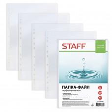 Папки-файлы перфорированные STAFF, А4, гладкие, комплект 100 шт, 35 мкм