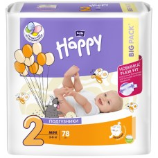 Подгузники Happy Mini 2 (3-6 кг), 78 шт