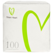 Салфетки бумажные Green Heart, 1-слойные, тиснение сплошное, 50 листов (белые), 24 см