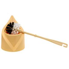 Ерш унитазный пластмассовый Капля с подставкой, (бежевый), h38 см