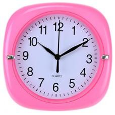 Часы настенные пластмассовые Аврора (цвет розовый), циферблат белый, 17х17х3,5 см