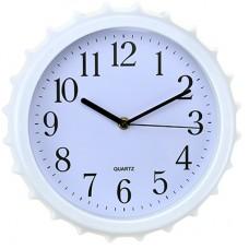 Часы настенные пластмассовые Крышка-M (цвет белый), циферблат белый, мягкий ход, 27х4 см