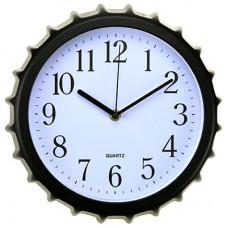 Часы настенные пластмассовые Крышка-M (цвет черный), циферблат белый, мягкий ход, 27х4 см