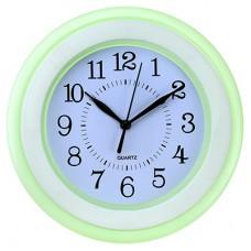 Часы настенные пластмассовые Студентка (цвет мятный) круглые, циферблат белый, 22,5х3,5 см