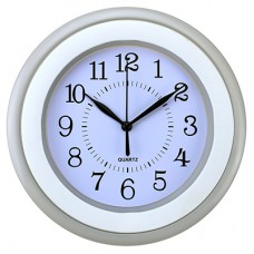 Часы настенные пластмассовые Студентка (цвет серый) круглые, циферблат белый, 22,5х3,5 см