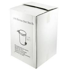 Ведро для мусора из нержавеющей стали с педалью д29 см, h43 см  см, вставка-ведро пластмассовое, с ручкой в коробке д28, h37,5 см, 18 л