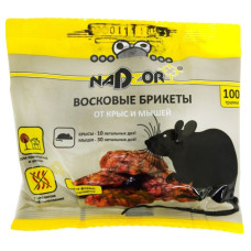 Восковые брикеты Nadzor (Надзор) от мышей и крыс, 100 г
