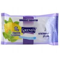 Влажные салфетки Grendy (Гренди) Мелисса с лимоном, 15 шт