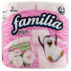 Туалетная бумага Familia Plus Весенний цвет, 2-слойная, 4 рулона