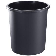 Корзина пластиковая для бумаг Стамм, цельная, черная, 18 л
