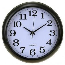 Часы настенные пластмассовые Классика, цвет черно-белый, циферблат мягкий ход, 29,5х4 см