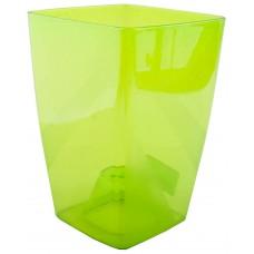 Горшок пластмассовый прозрачный для цветов/орхидеи, б/под Сильвия, цвет зеленый, 13х13х18 см, 1,9 л