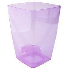 Горшок пластмассовый прозрачный для цветов/орхидеи, б/под Сильвия, цвет фиолетовый, 13х13х18 см, 1,9 л