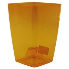 Горшок пластмассовый прозрачный для цветов/орхидеи, б/под Сильвия, цвет желтый, 13х13х18 см, 1,9 л