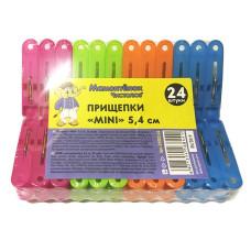 Прищепки пластмассовые Mini 5,4 см Мамонтенок чистолюб, 24 шт (набор)