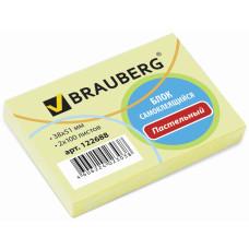Блок самоклеящийся (стикер) Brauberg (Брауберг), цвет желтый, 38х51 мм, 2х100 листов