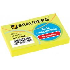 Блок самоклеящийся (стикер) Brauberg (Брауберг), неоновый, цвет желтый, 76х51 мм, 90 листов