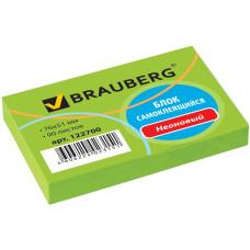 Блок самоклеящийся (стикер) Brauberg (Брауберг), неоновый, цвет зеленый, 76х76 мм, 90 листов