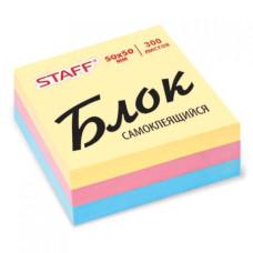 Блок самоклеящийся (стикер) Staff (Стафф), 3 цвета, 50х50 мм, 300 листов