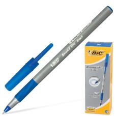 Ручка шариковая Bic (Бик) Round Stic Exact, корпус серый, резиновый упор, цвет синий, линия письма 0,3 мм