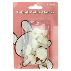 Держатель для кабеля на липучке Заячьи уши, силиконовый, 6 штук, д2, 4х3 см