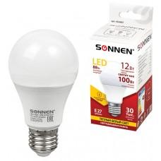 Лампа светодиодная Sonnen 12(100) Вт, цоколь E27, грушевидная, тепло-белый свет, LED A60-12W-2700, 30000 ч