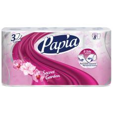 Туалетная бумага Papia 3-слойная, 8 рулонов, (белая)