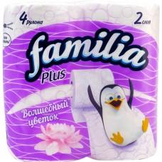 Туалетная бумага Familia (Фамилия) Plus «Волшебный цветок», 2-слойная, 4 рулона