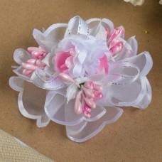 Бант для девочек с резинкой Фиалка (розовый), 8 см