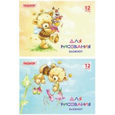 Блокнот для рисования Пифагор Медвежата, обложка офсет, горизонтальный, А4, 200х285 мм, 12 листов