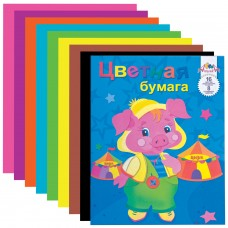 Цветная бумага Апплика А4 2-сторонняя газетная, 16 листов 8 цветов, на скобе, 200х255 мм
