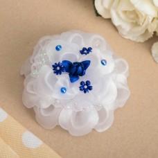 Бант для девочек с резинкой Василиса с синим декором, 11 см