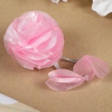 Бант для девочек с резинкой Лила розовый, с декором, 6 см
