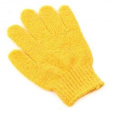 Перчатка массажная вязанная (желтая), 17х12 см