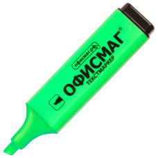 Текстмаркер Офисмаг, классический, скошенный наконечник, цвет зелёный, 1-5 мм