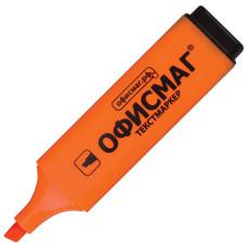 Текстмаркер Офисмаг, классический, скошенный наконечник, цвет оранжевый, 1-5 мм