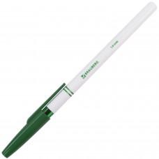 Ручка шариковая Brauberg (Брауберг) Офисная, корпус белый, цвет зеленый