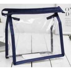 Косметичка квадратная на молнии, 15х7х15 см, (цвет синий)