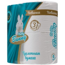 Туалетная бумага Bunny, белая, 3-слойная, 4 рулона