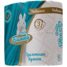 Туалетная бумага Bunny, персиковая, 3-слойная, 4 рулона