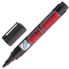 Маркер перманентный (нестираемый) Crown (Кроун) Multi Marker (Мульти Марекер), цвет черный, круглый наконечник, 3 мм