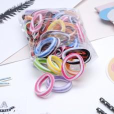 Набор резинок для волос Махрушка в белую полоску, разноцветные, 5,5 см, 48 шт