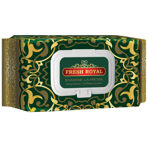 Влажные салфетки Fresh Royal с крышкой, 120 шт
