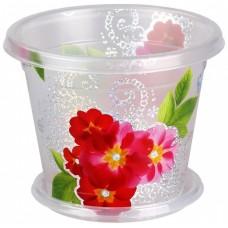 Горшок для цветов и орхидеи пластмассовый, д15 см, h12 см, прозрачный, (Баш), 1 л