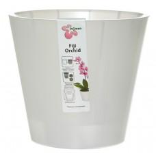 Горшок пластмассовый для цветов/орхидеи, со/вставк Ingreen Fiji Орхид, цвет бел/перл, d=16 см, h=14 см, ING1558 БЛ, 1,6 л