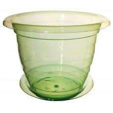 Горшок пластмассовый для цветов/орхидеи прозрачный, зеленый, d=19 см, h=15 см, 1454 М, 2 л